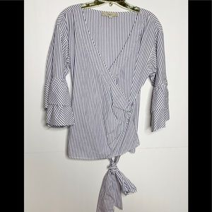 LOFT Tops - Ann Taylor Loft Striped Wrap Blouse Size Small